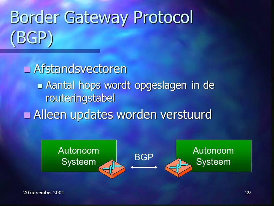 20 november 200129 Border Gateway Protocol (BGP) Afstandsvectoren Afstandsvectoren Aantal hops wordt opgeslagen in de routeringstabel Aantal hops word