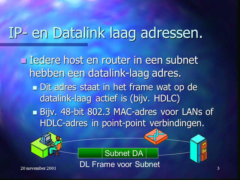 20 november 20013 IP- en Datalink laag adressen. Iedere host en router in een subnet hebben een datalink-laag adres. Iedere host en router in een subn