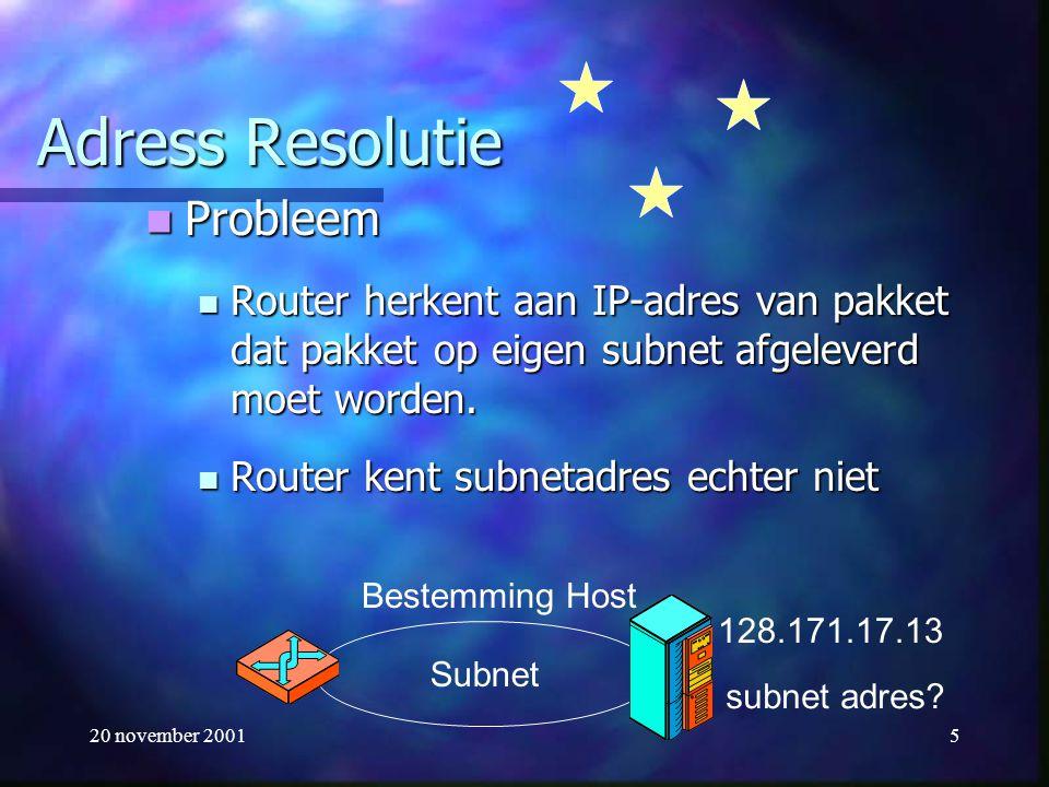 20 november 20016 Address Resolution Protocol (ARP) RFC 826 Router maakt een ARP-request bericht en stuurt dit naar alle hosts op subnet Router maakt een ARP-request bericht en stuurt dit naar alle hosts op subnet ARP-bericht: Wie heeft IP-adres 128.171.17.13? ARP-bericht: Wie heeft IP-adres 128.171.17.13? ARP-request wordt afgeleverd op datalinklaag en verstuurd.