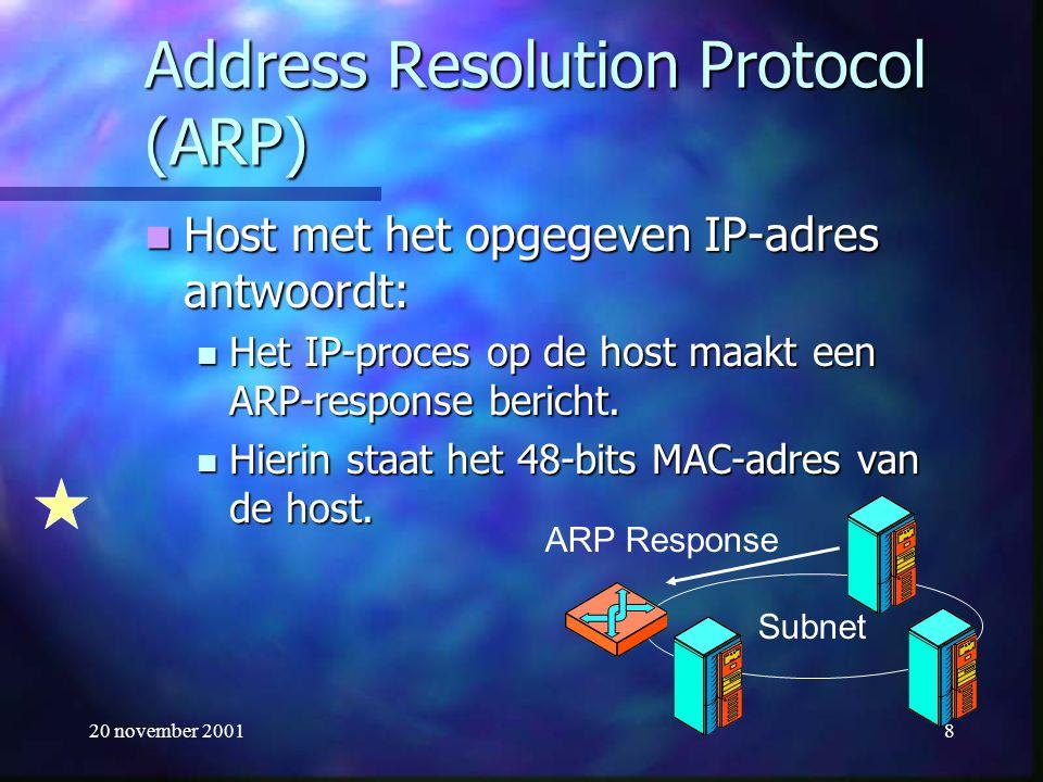 20 november 20018 Address Resolution Protocol (ARP) Host met het opgegeven IP-adres antwoordt: Host met het opgegeven IP-adres antwoordt: Het IP-proce