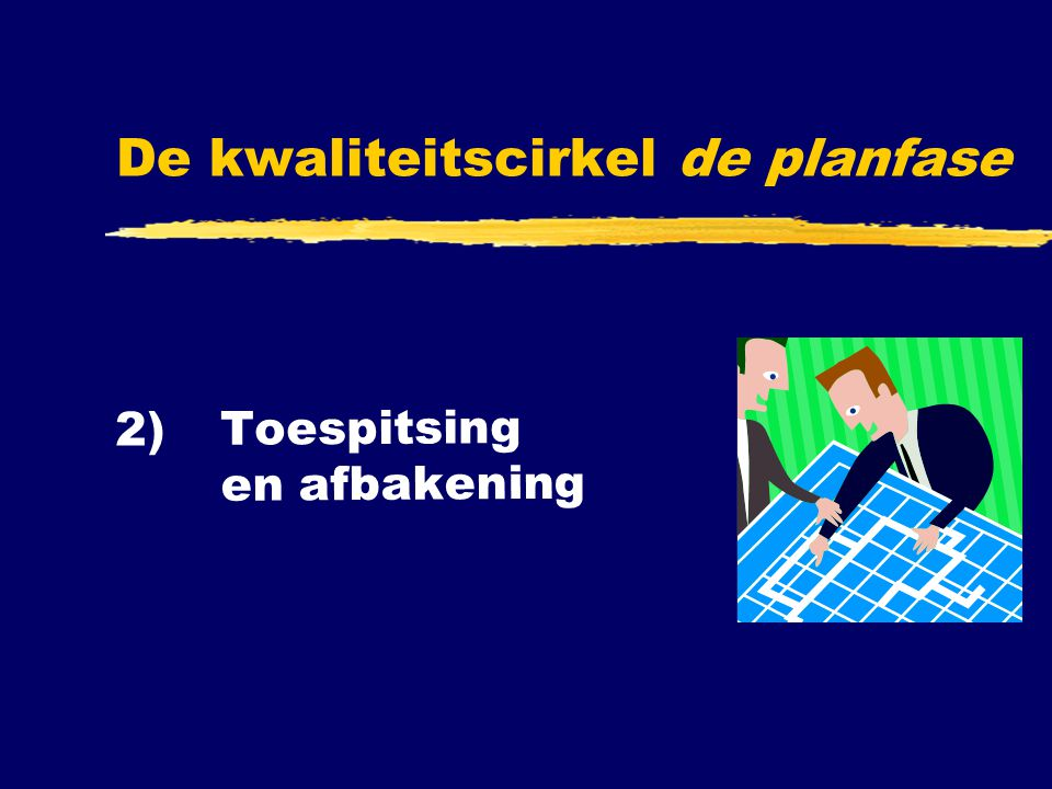 2) Toespitsing en afbakening De kwaliteitscirkel de planfase