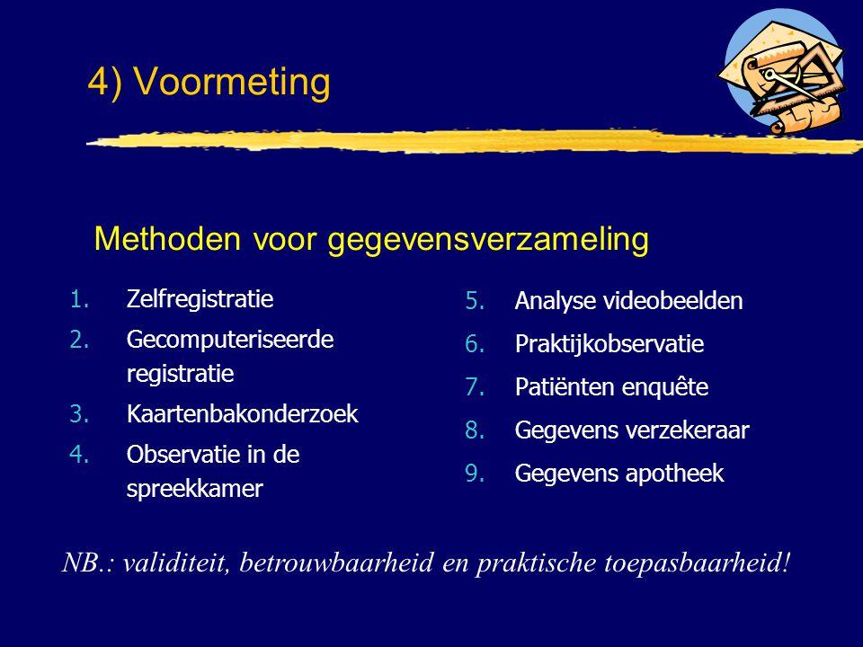 1.Zelfregistratie 2.Gecomputeriseerde registratie 3.Kaartenbakonderzoek 4.Observatie in de spreekkamer 5.Analyse videobeelden 6.Praktijkobservatie 7.P
