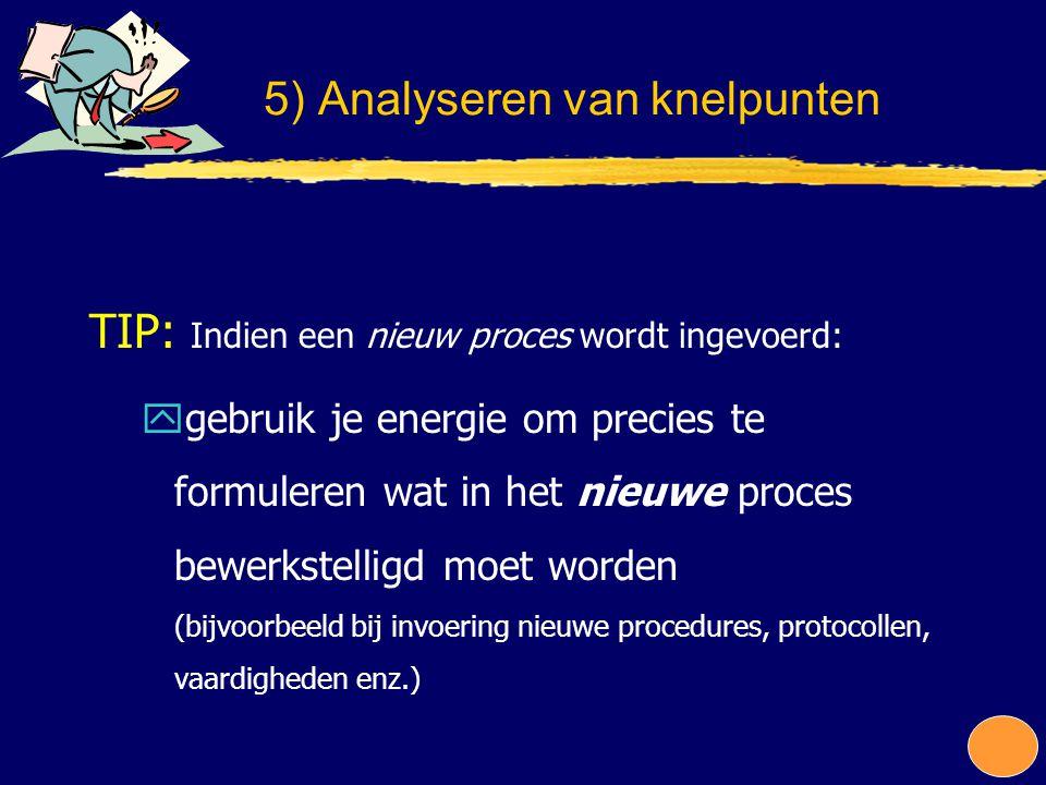 TIP: Indien een nieuw proces wordt ingevoerd: ygebruik je energie om precies te formuleren wat in het nieuwe proces bewerkstelligd moet worden (bijvoo