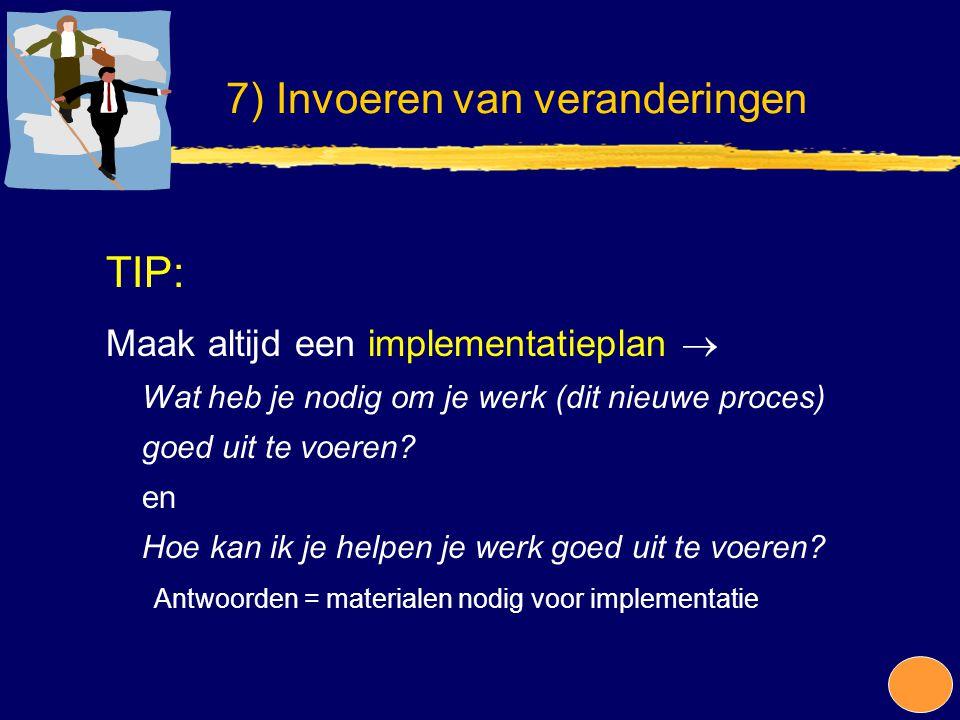 TIP: Maak altijd een implementatieplan  Wat heb je nodig om je werk (dit nieuwe proces) goed uit te voeren? en Hoe kan ik je helpen je werk goed uit