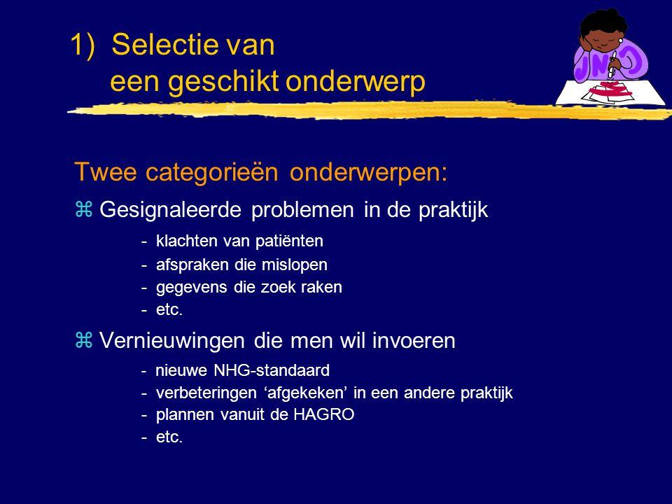 Twee categorieën onderwerpen: zGesignaleerde problemen in de praktijk - klachten van patiënten - afspraken die mislopen - gegevens die zoek raken - et