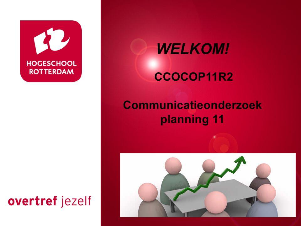 Presentatie titel Rotterdam, 00 januari 2007 WELKOM! CCOCOP11R2 Communicatieonderzoek planning 11