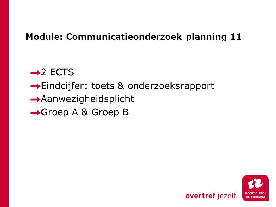 Module: Communicatieonderzoek planning 11 2 ECTS Eindcijfer: toets & onderzoeksrapport Aanwezigheidsplicht Groep A & Groep B