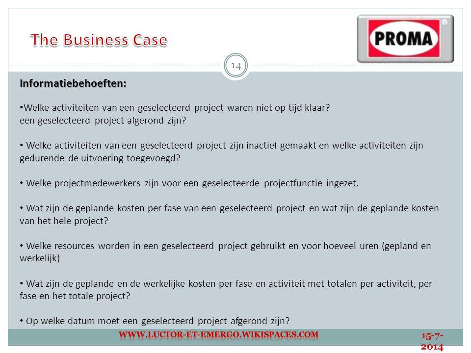 14 Informatiebehoeften: Welke activiteiten van een geselecteerd project waren niet op tijd klaar? een geselecteerd project afgerond zijn? Welke activi