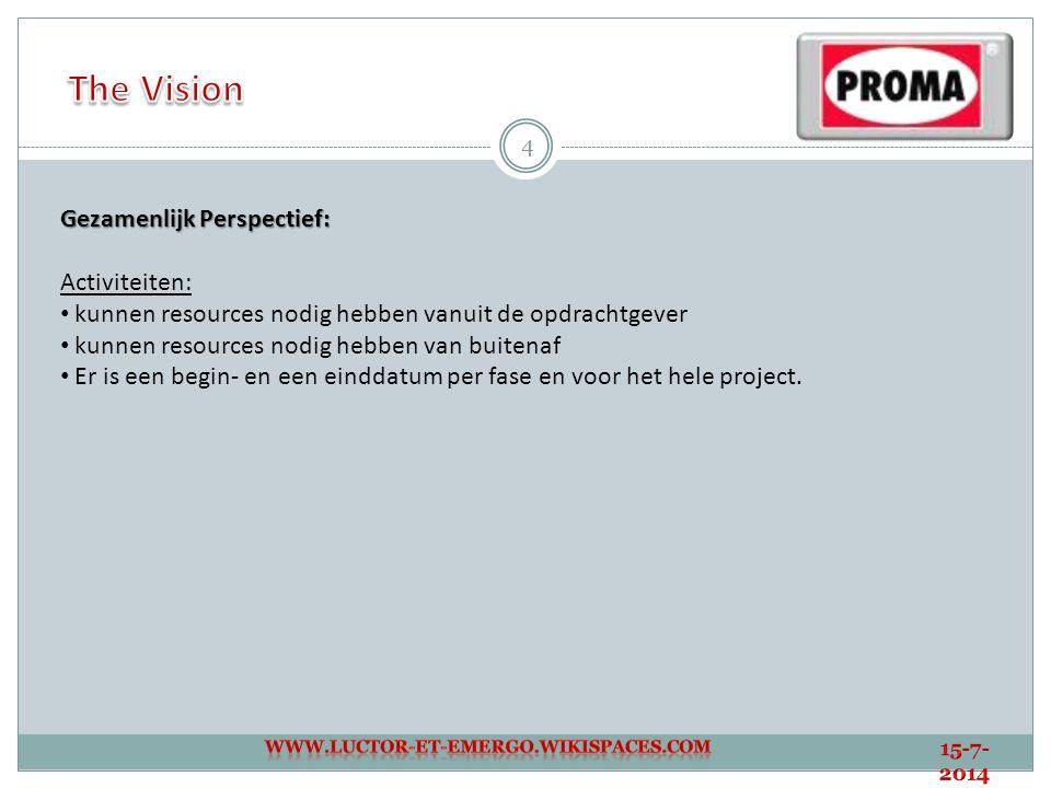 15 Gewenste opzet: Wanneer een bouwonderneming een bouwproject wil starten, benadert zij Proma om het project in te richten.