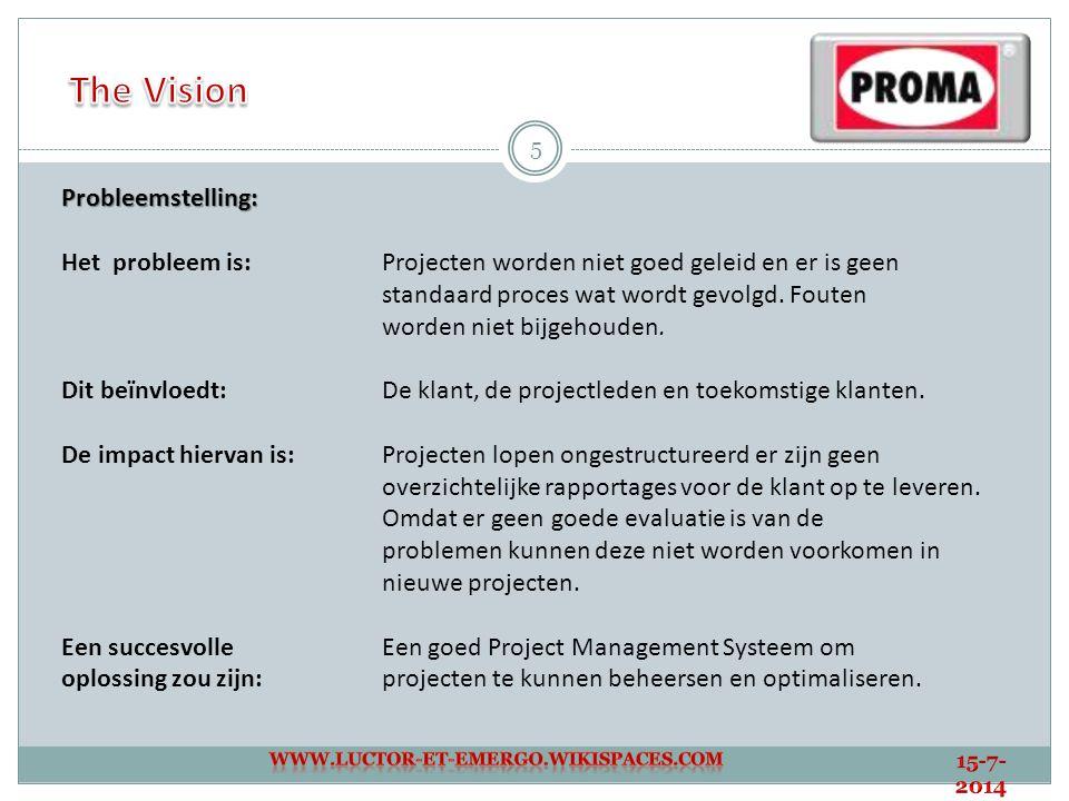 5 Probleemstelling: Het probleem is: Projecten worden niet goed geleid en er is geen standaard proces wat wordt gevolgd. Fouten worden niet bijgehoude