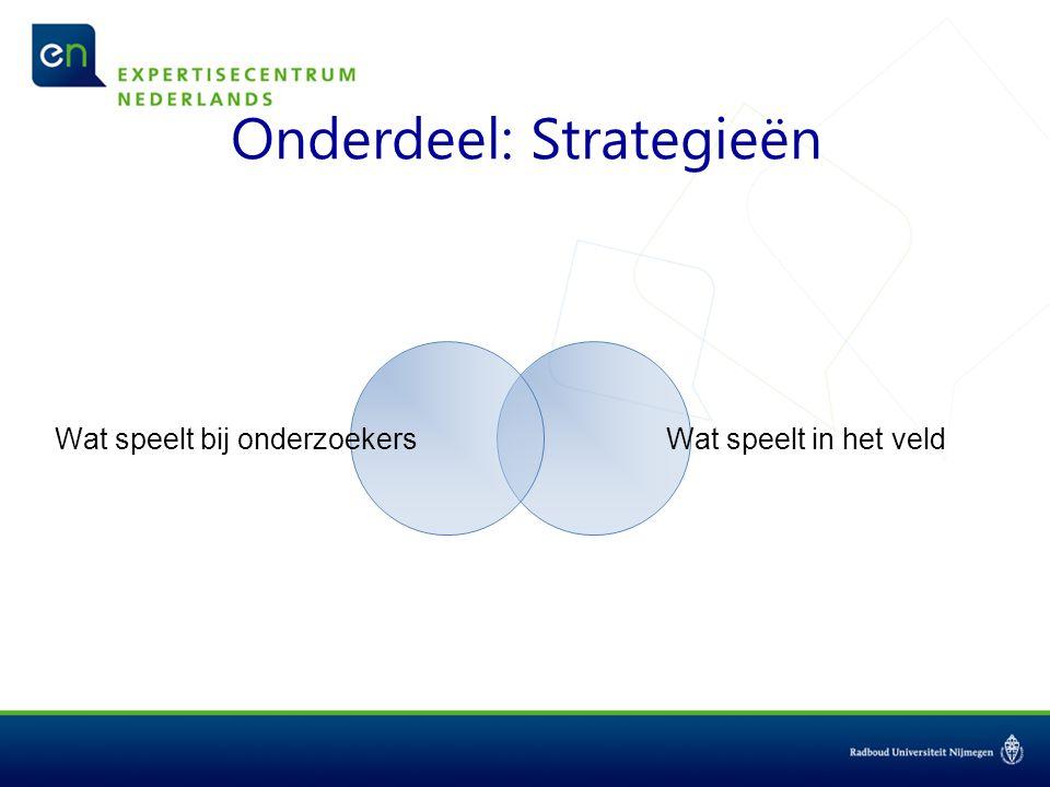 Onderdeel: Strategieën Wat speelt bij onderzoekers Wat speelt in het veld