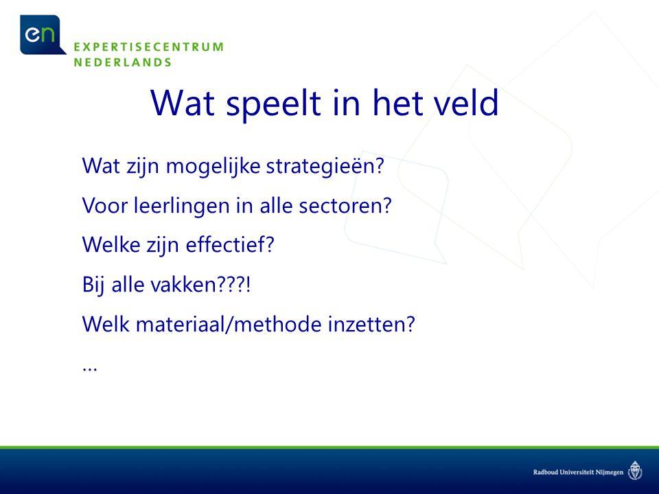 Wat zijn mogelijke strategieën? Voor leerlingen in alle sectoren? Welke zijn effectief? Bij alle vakken???! Welk materiaal/methode inzetten? …