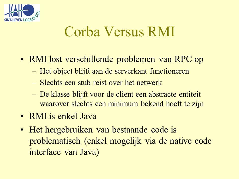 Corba Versus RMI RMI lost verschillende problemen van RPC op –Het object blijft aan de serverkant functioneren –Slechts een stub reist over het netwerk –De klasse blijft voor de client een abstracte entiteit waarover slechts een minimum bekend hoeft te zijn RMI is enkel Java Het hergebruiken van bestaande code is problematisch (enkel mogelijk via de native code interface van Java)