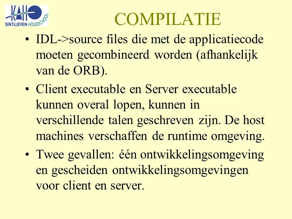 COMPILATIE IDL->source files die met de applicatiecode moeten gecombineerd worden (afhankelijk van de ORB).