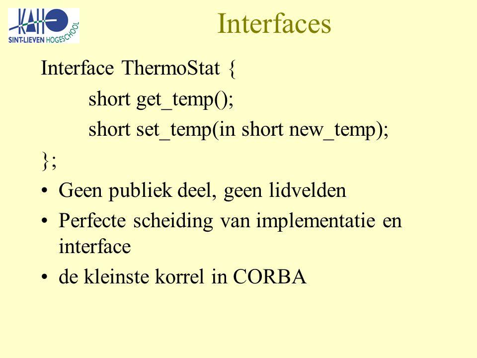 Interfaces Interface ThermoStat { short get_temp(); short set_temp(in short new_temp); }; Geen publiek deel, geen lidvelden Perfecte scheiding van implementatie en interface de kleinste korrel in CORBA