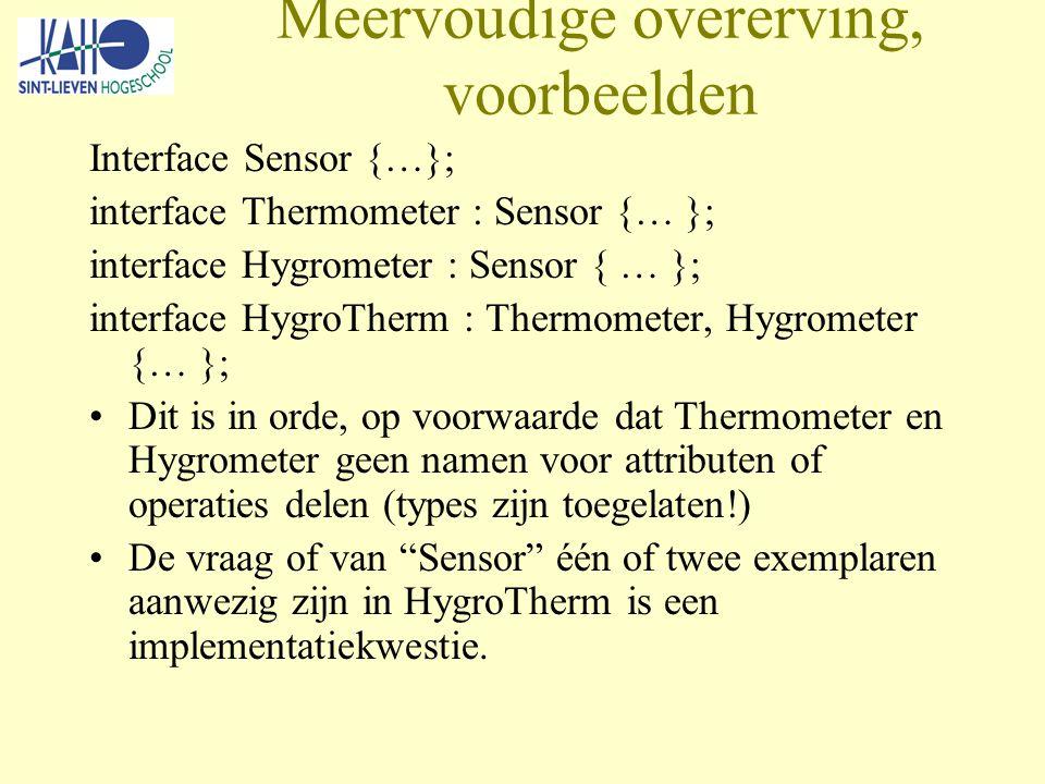 Meervoudige overerving, voorbeelden Interface Sensor {…}; interface Thermometer : Sensor {… }; interface Hygrometer : Sensor { … }; interface HygroTherm : Thermometer, Hygrometer {… }; Dit is in orde, op voorwaarde dat Thermometer en Hygrometer geen namen voor attributen of operaties delen (types zijn toegelaten!) De vraag of van Sensor één of twee exemplaren aanwezig zijn in HygroTherm is een implementatiekwestie.