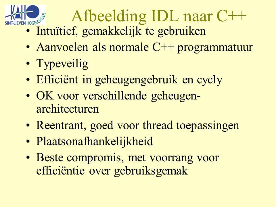 Afbeelding IDL naar C++ Intuïtief, gemakkelijk te gebruiken Aanvoelen als normale C++ programmatuur Typeveilig Efficiënt in geheugengebruik en cycly OK voor verschillende geheugen- architecturen Reentrant, goed voor thread toepassingen Plaatsonafhankelijkheid Beste compromis, met voorrang voor efficiëntie over gebruiksgemak