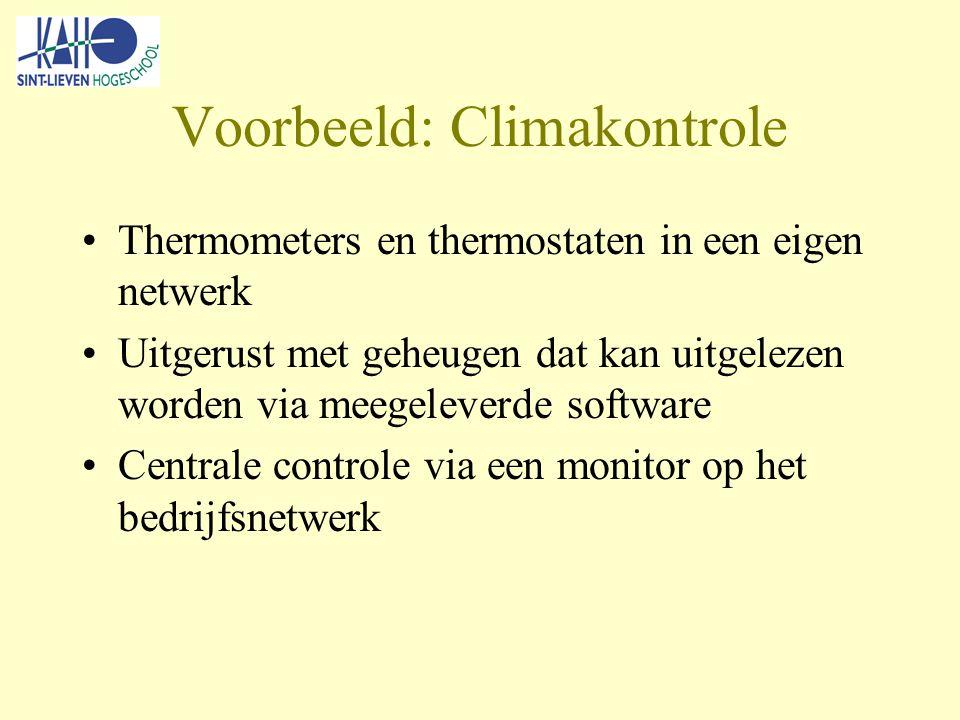 Voorbeeld: Climakontrole Thermometers en thermostaten in een eigen netwerk Uitgerust met geheugen dat kan uitgelezen worden via meegeleverde software Centrale controle via een monitor op het bedrijfsnetwerk