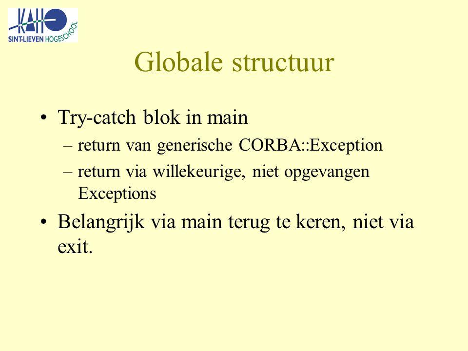 Globale structuur Try-catch blok in main –return van generische CORBA::Exception –return via willekeurige, niet opgevangen Exceptions Belangrijk via main terug te keren, niet via exit.