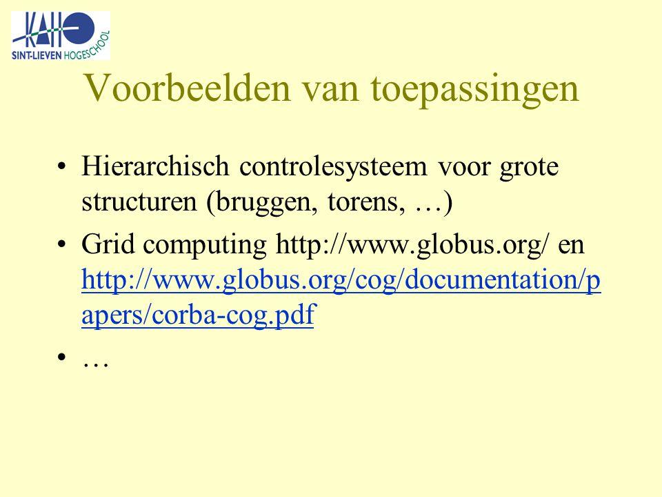 Voorbeelden van toepassingen Hierarchisch controlesysteem voor grote structuren (bruggen, torens, …) Grid computing http://www.globus.org/ en http://www.globus.org/cog/documentation/p apers/corba-cog.pdf http://www.globus.org/cog/documentation/p apers/corba-cog.pdf …