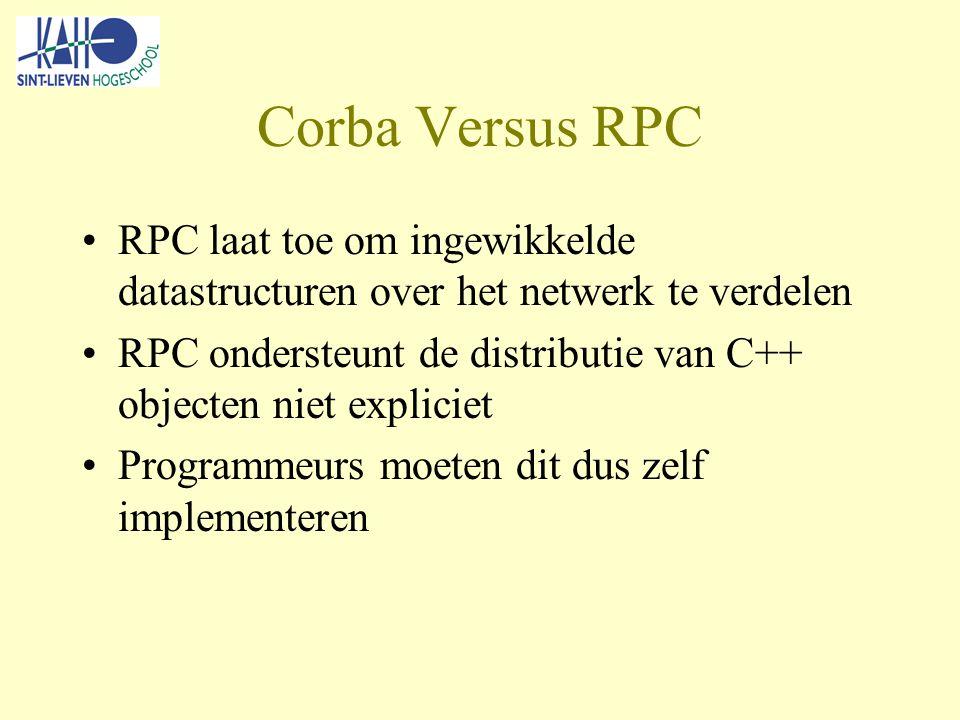 Corba Versus RPC RPC laat toe om ingewikkelde datastructuren over het netwerk te verdelen RPC ondersteunt de distributie van C++ objecten niet expliciet Programmeurs moeten dit dus zelf implementeren