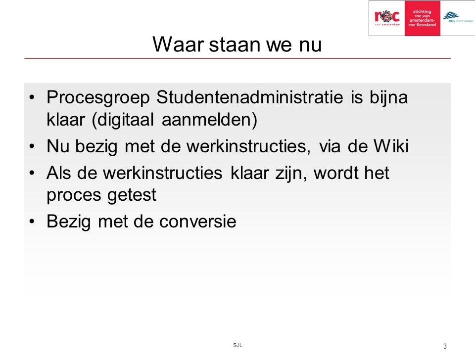 Waar staan we nu Procesgroep Studentenadministratie is bijna klaar (digitaal aanmelden) Nu bezig met de werkinstructies, via de Wiki Als de werkinstru