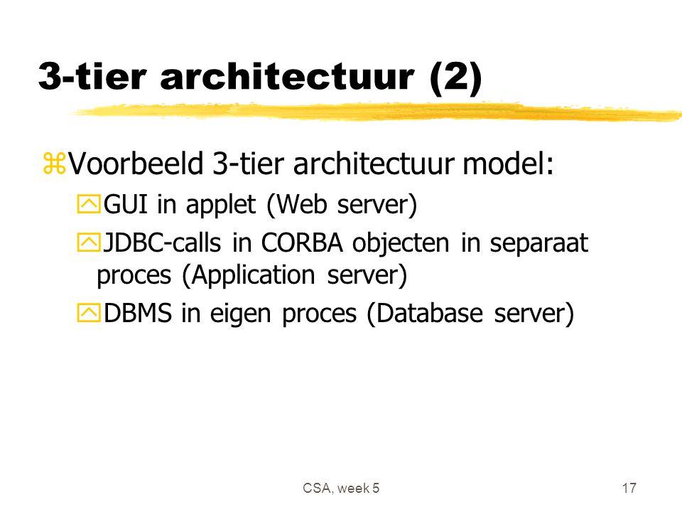 CSA, week 517 3-tier architectuur (2) zVoorbeeld 3-tier architectuur model: yGUI in applet (Web server) yJDBC-calls in CORBA objecten in separaat proces (Application server) yDBMS in eigen proces (Database server)