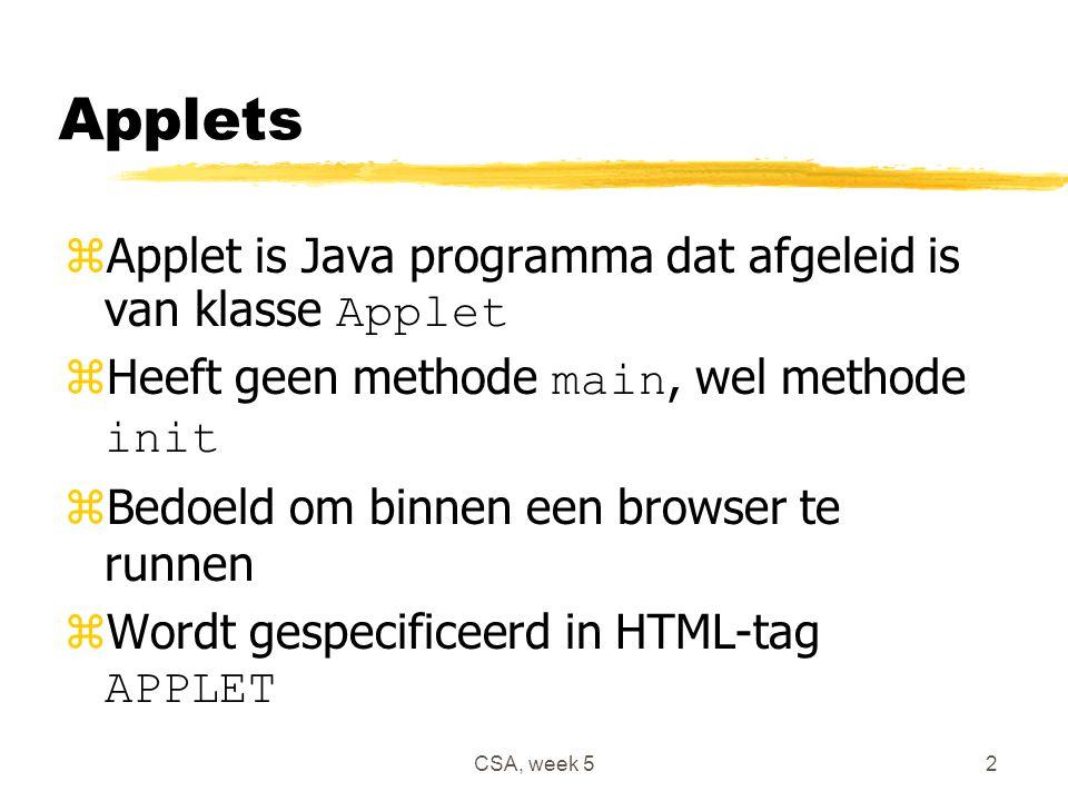 CSA, week 52 Applets  Applet is Java programma dat afgeleid is van klasse Applet  Heeft geen methode main, wel methode init zBedoeld om binnen een browser te runnen  Wordt gespecificeerd in HTML-tag APPLET