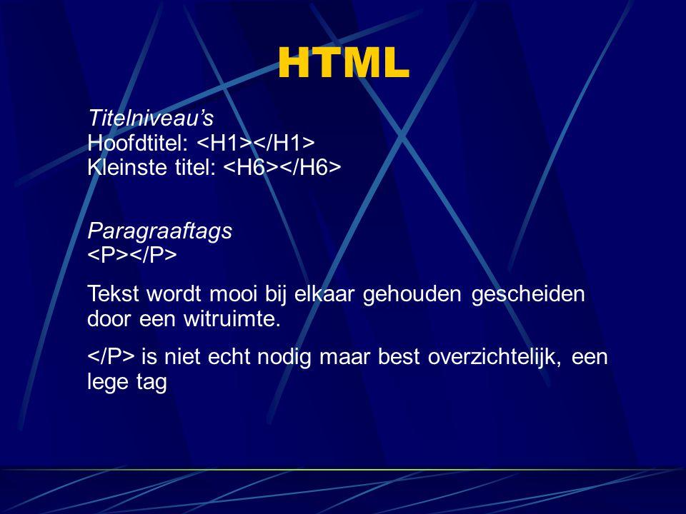 HTML Titelniveau's Hoofdtitel: Kleinste titel: Paragraaftags Tekst wordt mooi bij elkaar gehouden gescheiden door een witruimte. is niet echt nodig ma