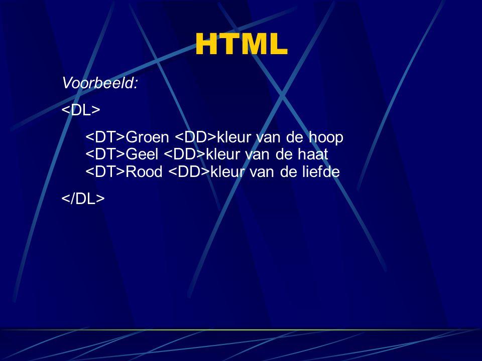 HTML Voorbeeld: Groen kleur van de hoop Geel kleur van de haat Rood kleur van de liefde