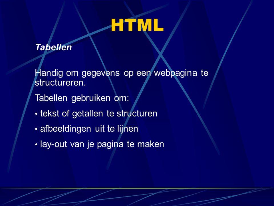 HTML Tabellen Handig om gegevens op een webpagina te structureren. Tabellen gebruiken om: tekst of getallen te structuren afbeeldingen uit te lijnen l