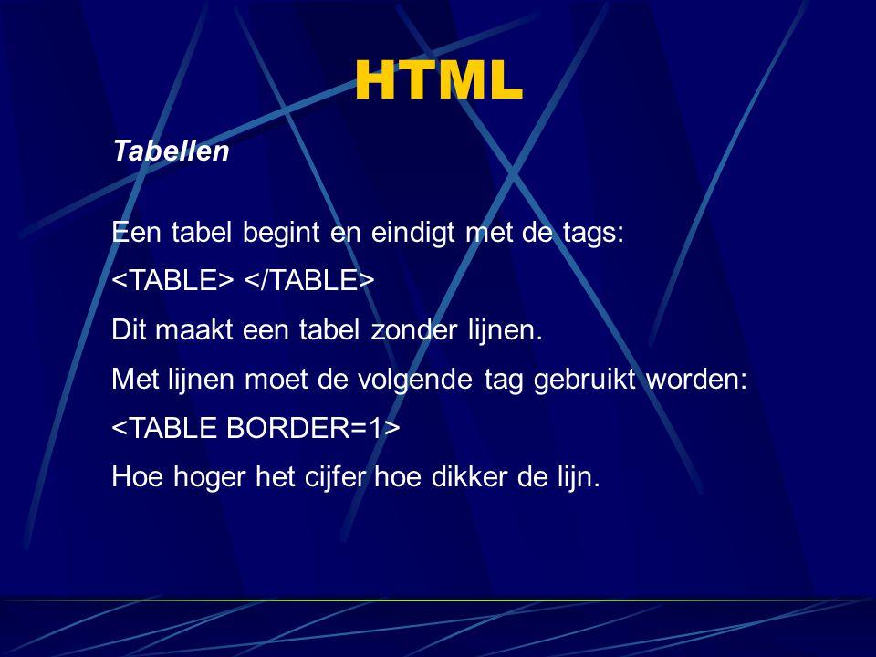 HTML Tabellen Een tabel begint en eindigt met de tags: Dit maakt een tabel zonder lijnen. Met lijnen moet de volgende tag gebruikt worden: Hoe hoger h