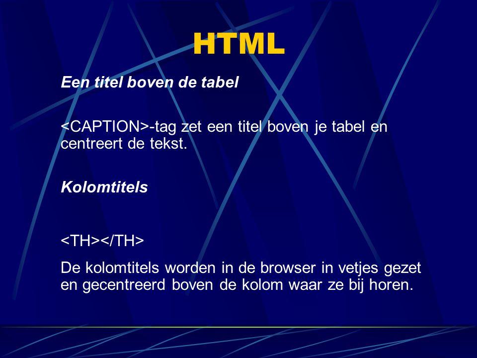 HTML Een titel boven de tabel -tag zet een titel boven je tabel en centreert de tekst. Kolomtitels De kolomtitels worden in de browser in vetjes gezet