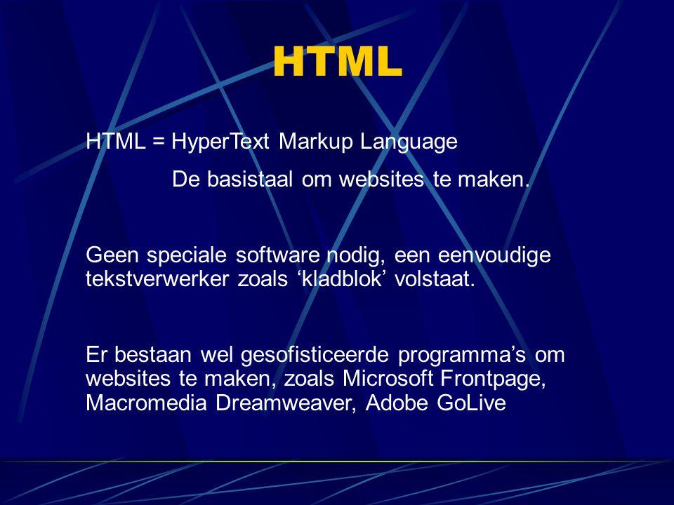 HTML HTML-taal bestaat uit codes, die meestal in paren voorkomen (tags): een openingscode een afsluitcode Afsluitcode is gelijk aan de openingscode maar met dat verschil dat er een schuine streep (/) voorkomt te staan.