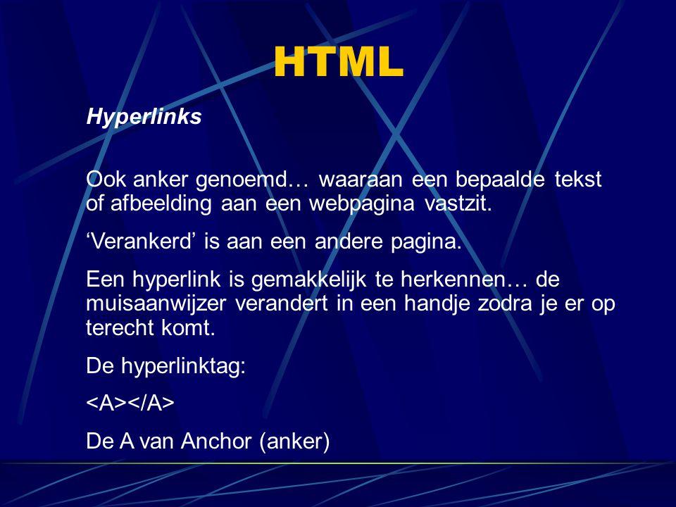 HTML Hyperlinks Ook anker genoemd… waaraan een bepaalde tekst of afbeelding aan een webpagina vastzit. 'Verankerd' is aan een andere pagina. Een hyper