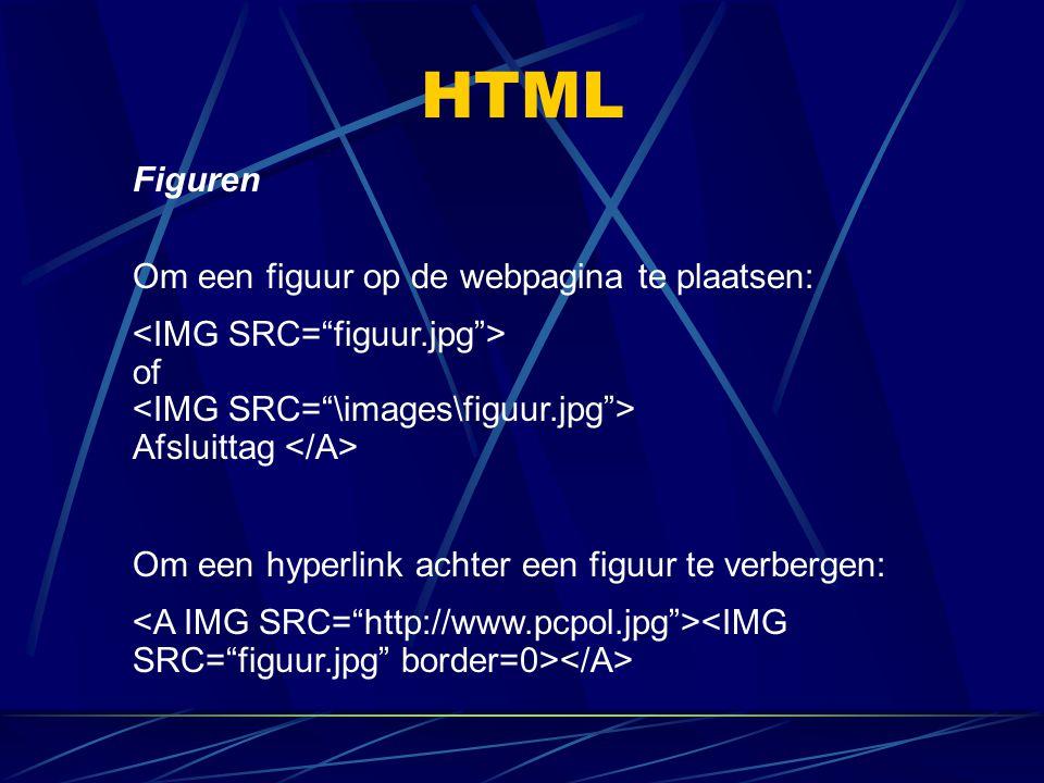 HTML Figuren Om een figuur op de webpagina te plaatsen: of Afsluittag Om een hyperlink achter een figuur te verbergen: