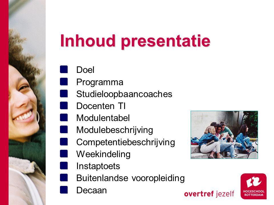 Inhoud presentatie Doel Programma Studieloopbaancoaches Docenten TI Modulentabel Modulebeschrijving Competentiebeschrijving Weekindeling Instaptoets B
