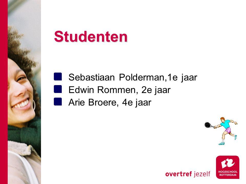 Studenten Sebastiaan Polderman,1e jaar Edwin Rommen, 2e jaar Arie Broere, 4e jaar