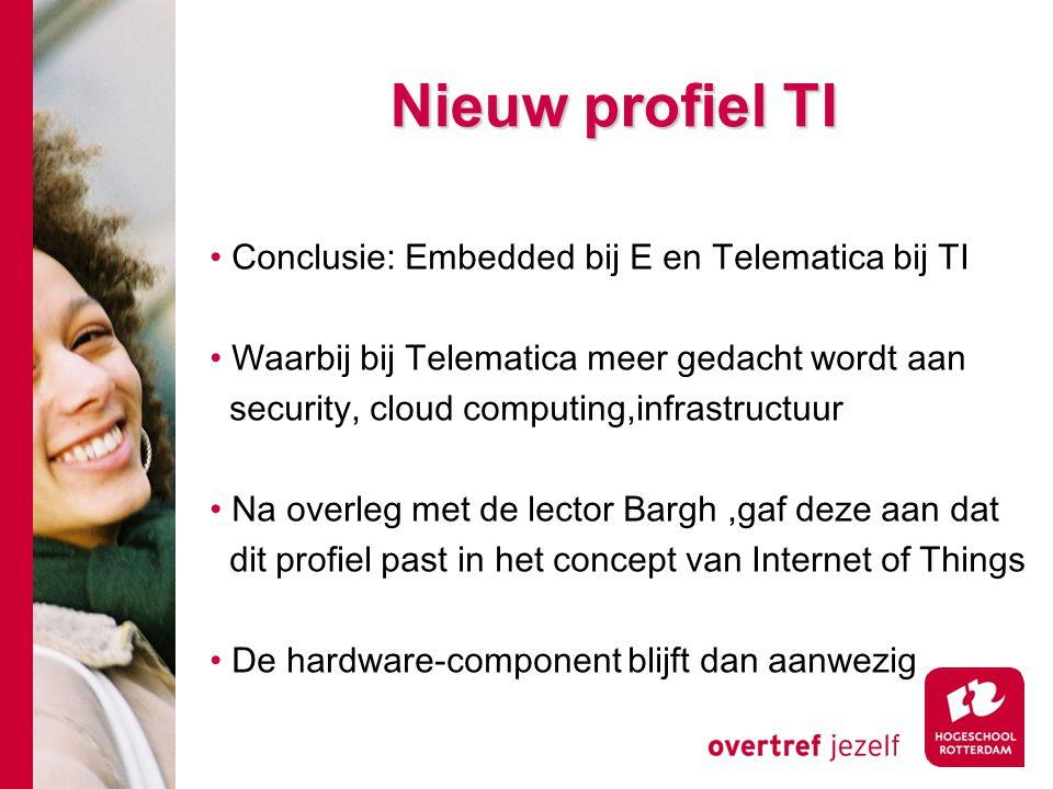 Nieuw profiel TI Conclusie: Embedded bij E en Telematica bij TI Waarbij bij Telematica meer gedacht wordt aan security, cloud computing,infrastructuur