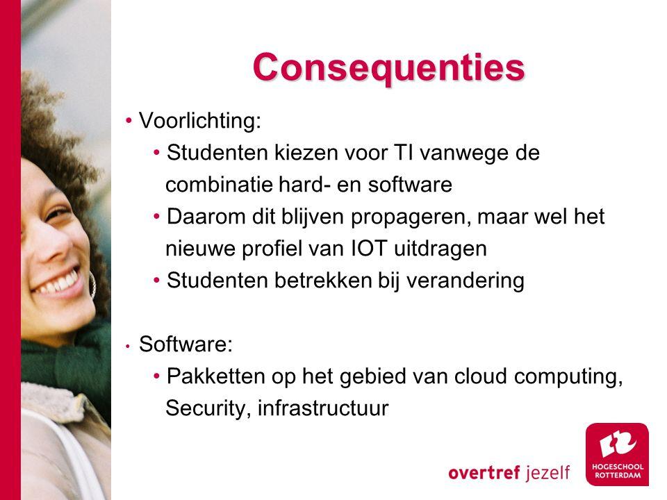 Consequenties Voorlichting: Studenten kiezen voor TI vanwege de combinatie hard- en software Daarom dit blijven propageren, maar wel het nieuwe profiel van IOT uitdragen Studenten betrekken bij verandering Software: Pakketten op het gebied van cloud computing, Security, infrastructuur