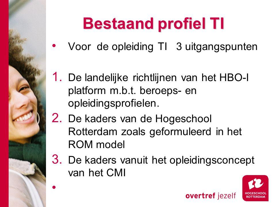 Bestaand profiel TI Voor de opleiding TI 3 uitgangspunten 1. De landelijke richtlijnen van het HBO-I platform m.b.t. beroeps- en opleidingsprofielen.