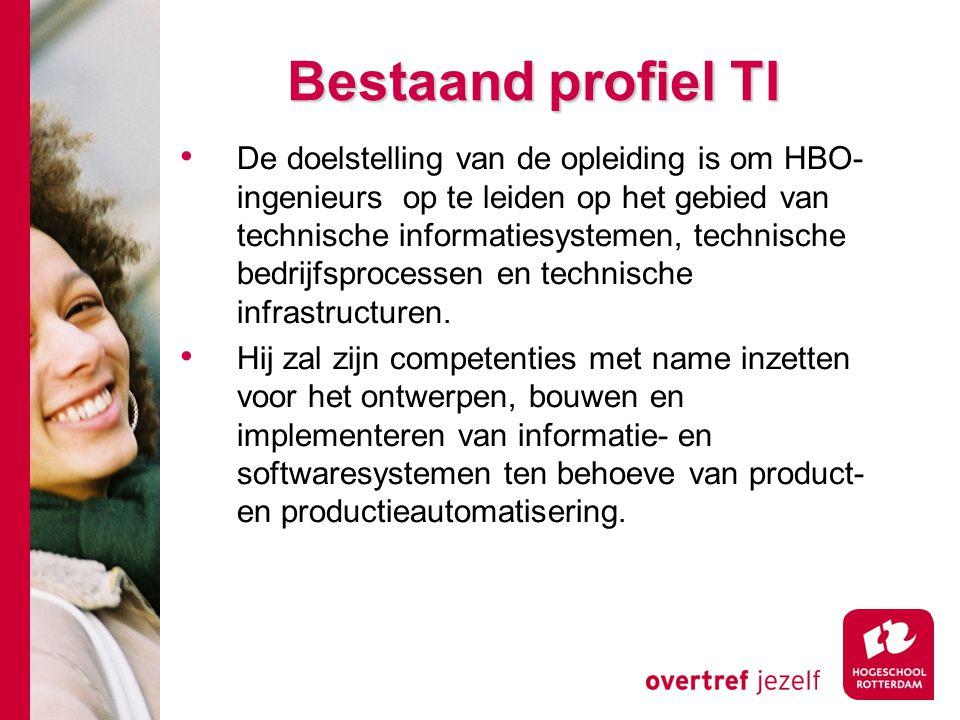 Bestaand profiel TI De doelstelling van de opleiding is om HBO- ingenieurs op te leiden op het gebied van technische informatiesystemen, technische bedrijfsprocessen en technische infrastructuren.