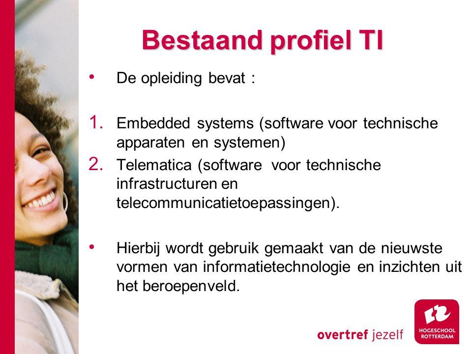 Bestaand profiel TI De opleiding bevat : 1. Embedded systems (software voor technische apparaten en systemen) 2. Telematica (software voor technische