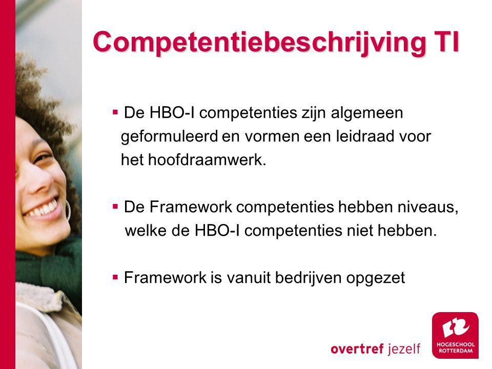  De HBO-I competenties zijn algemeen geformuleerd en vormen een leidraad voor het hoofdraamwerk.  De Framework competenties hebben niveaus, welke de