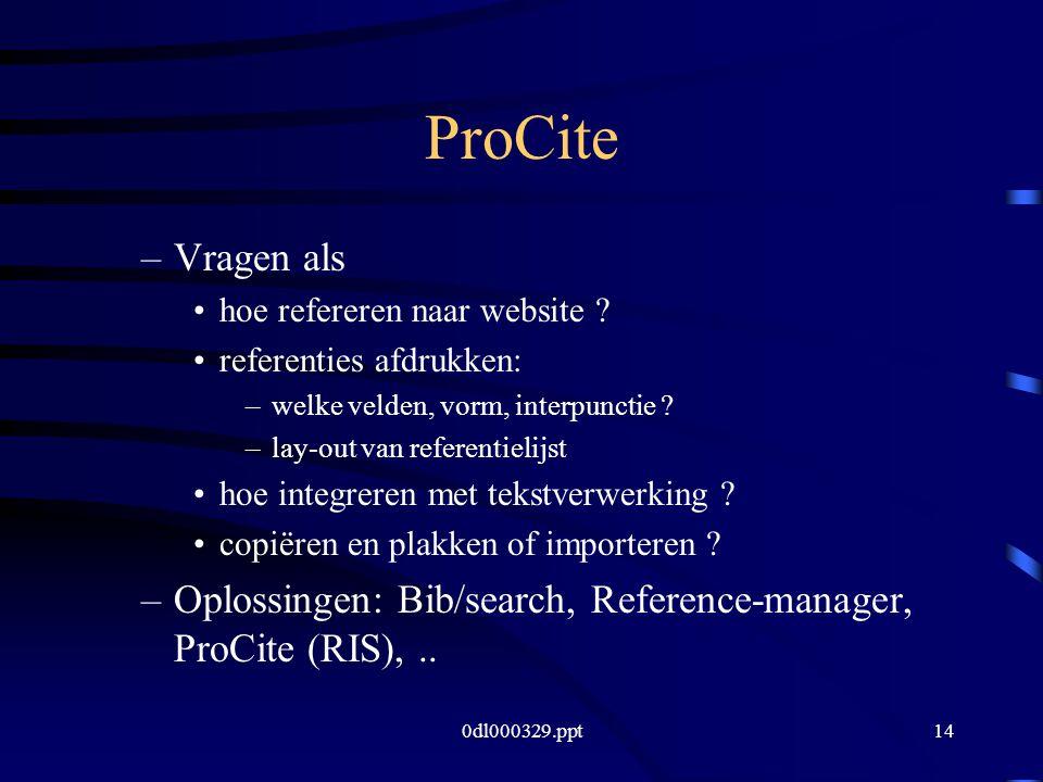 0dl000329.ppt14 ProCite –Vragen als hoe refereren naar website .
