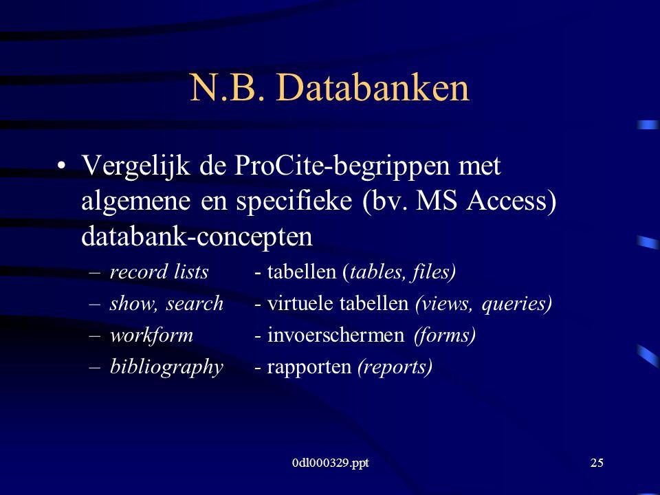 0dl000329.ppt25 N.B. Databanken Vergelijk de ProCite-begrippen met algemene en specifieke (bv.