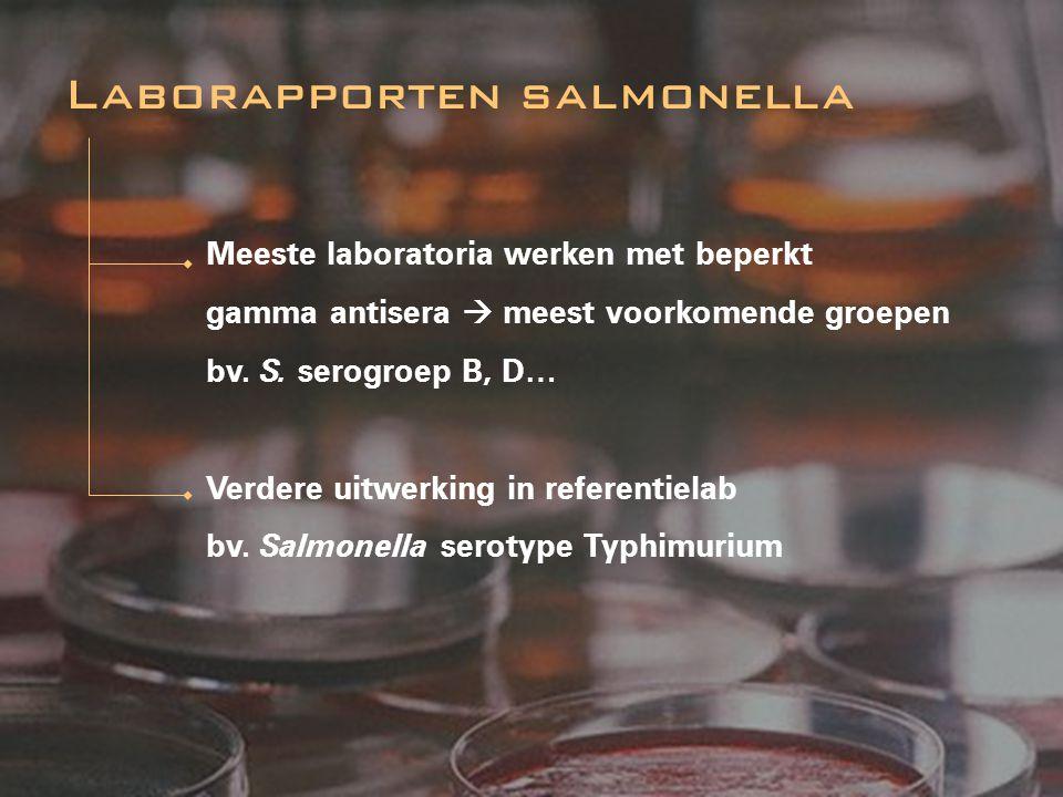 Meeste laboratoria werken met beperkt gamma antisera  meest voorkomende groepen bv. S. serogroep B, D… Verdere uitwerking in referentielab bv. Salmon
