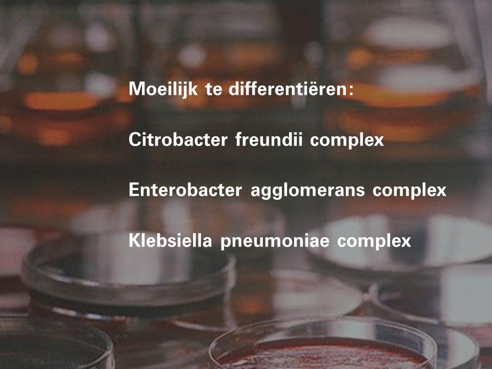 Moeilijk te differentiëren: Citrobacter freundii complex Enterobacter agglomerans complex Klebsiella pneumoniae complex