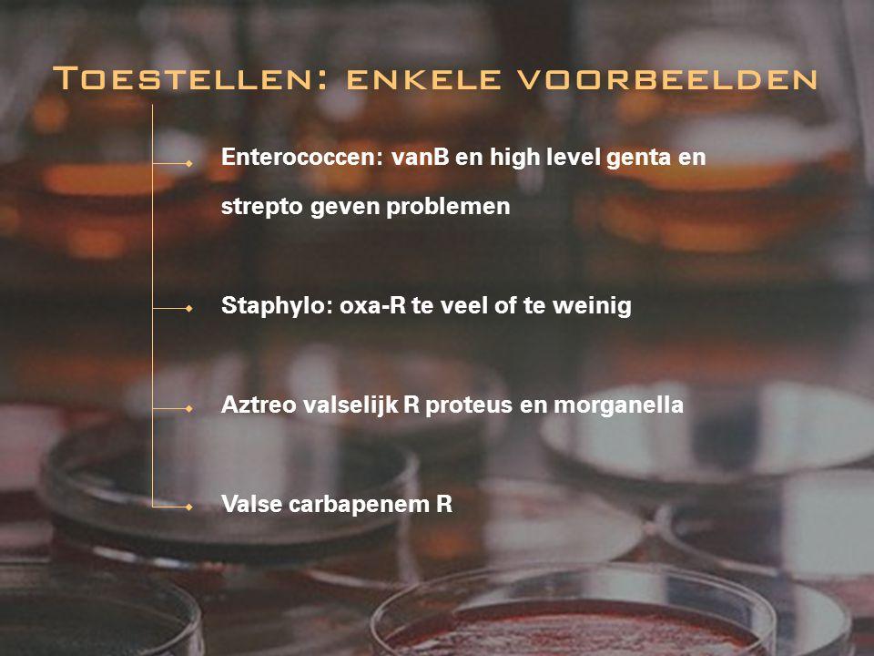 Enterococcen: vanB en high level genta en strepto geven problemen Staphylo: oxa-R te veel of te weinig Aztreo valselijk R proteus en morganella Valse