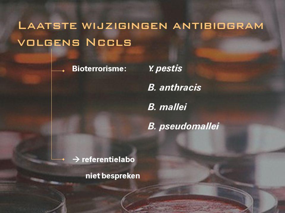 Bioterrorisme: Y. pestis B. anthracis B. mallei B. pseudomallei  referentielabo niet bespreken Laatste wijzigingen antibiogram volgens Nccls